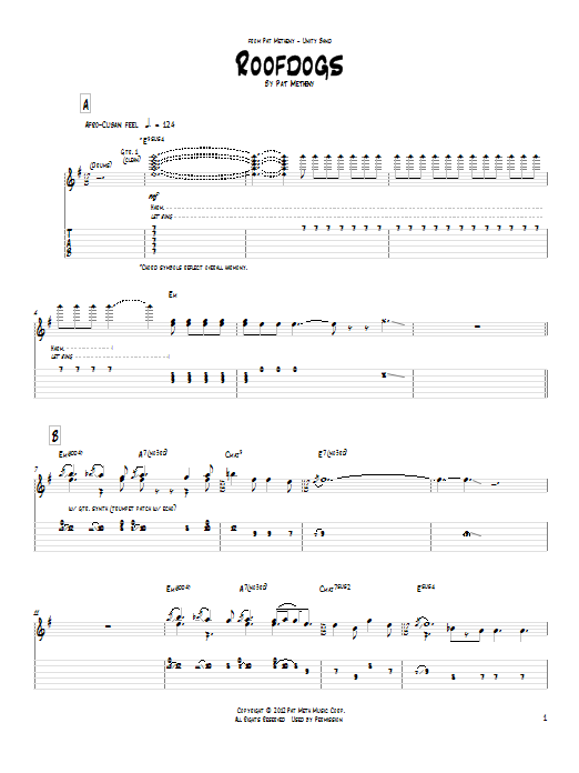 Tablature guitare Roofdogs de Pat Metheny - Tablature Guitare