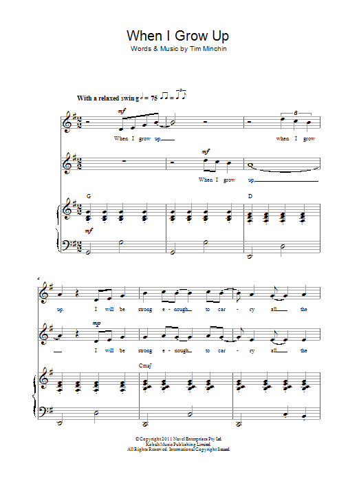 When I Grow Up (From 'Matilda The Musical') Sheet Music