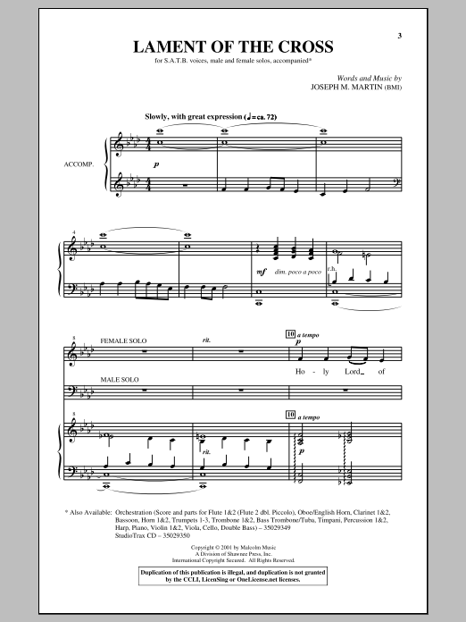 Lament Of The Cross Sheet Music