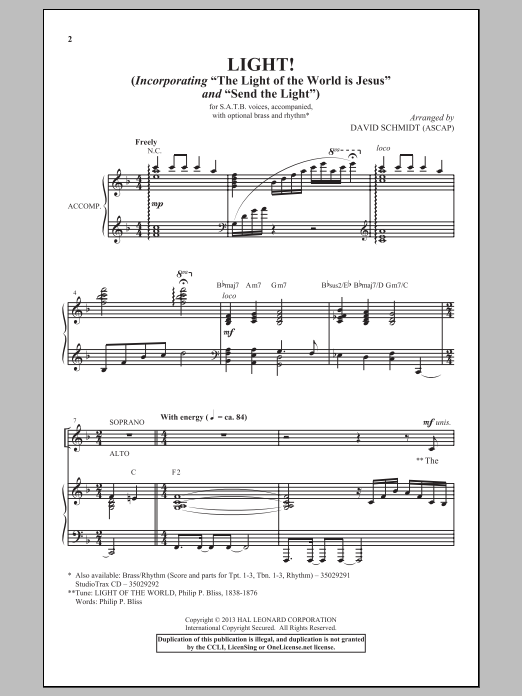 Partition chorale The Light Of The World Is Jesus de David Schmidt - SATB