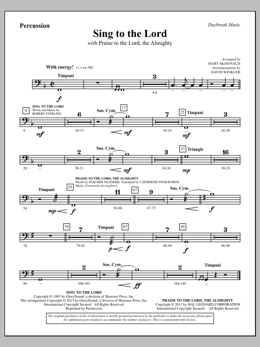 """Sing To The Lord (with """"Praise To The Lord, The Almighty"""") - Horn (doubles Trumpet 3) (Choir Instrumental Pak)"""
