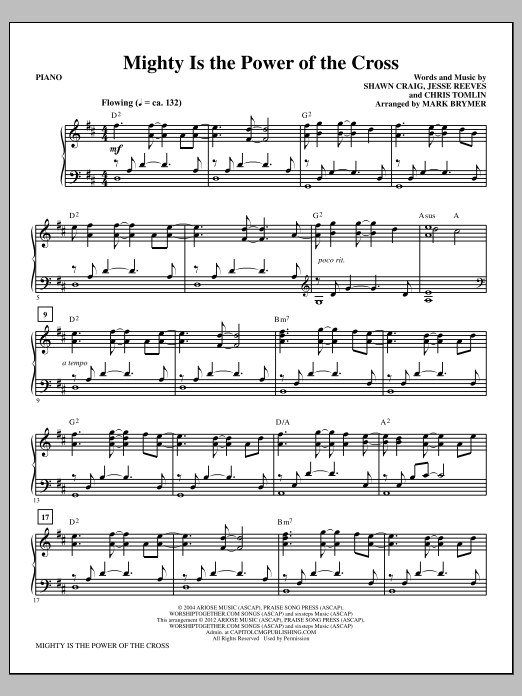 Mighty Is The Power Of The Cross Piano By Mark Brymer Choir Instrumental Pak Digital Sheet Music