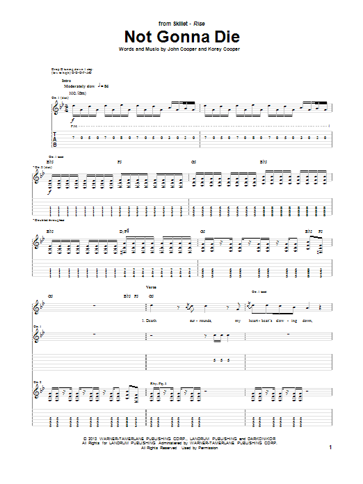 Not Gonna Die Sheet Music