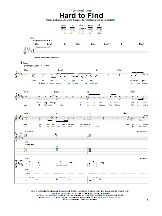 Tablature guitare Hard To Find de Skillet - Tablature Guitare