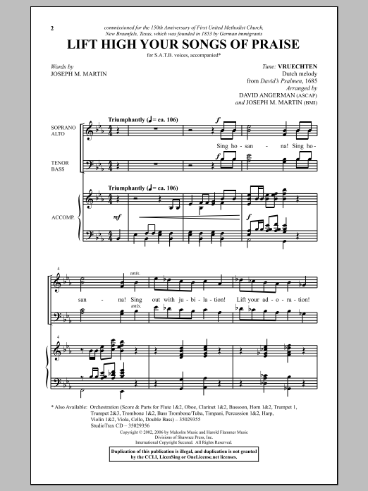 Lift High Your Songs Of Praise Sheet Music
