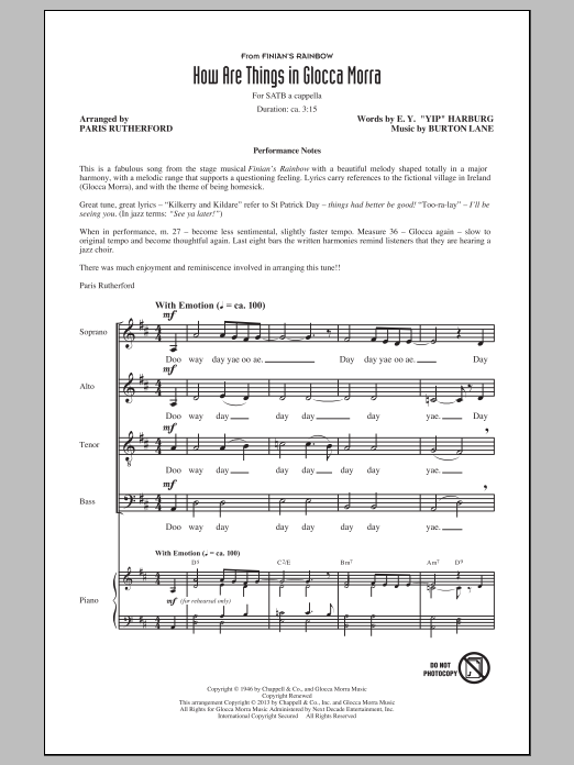 How Are Things In Glocca Morra (arr. Paris Rutherford) Sheet Music