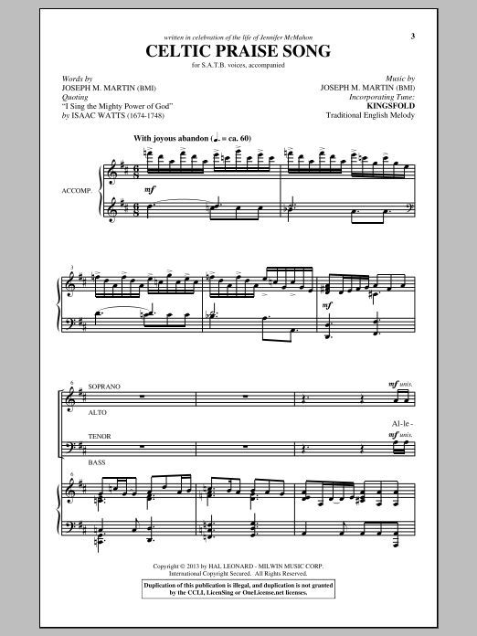 Partition chorale The Celtic Choir de Joseph M. Martin - SATB