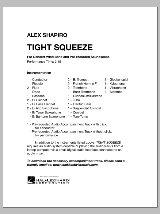 Tight Squeeze (COMPLETE) sheet music for concert band by Alex Shapiro. Score Image Preview.