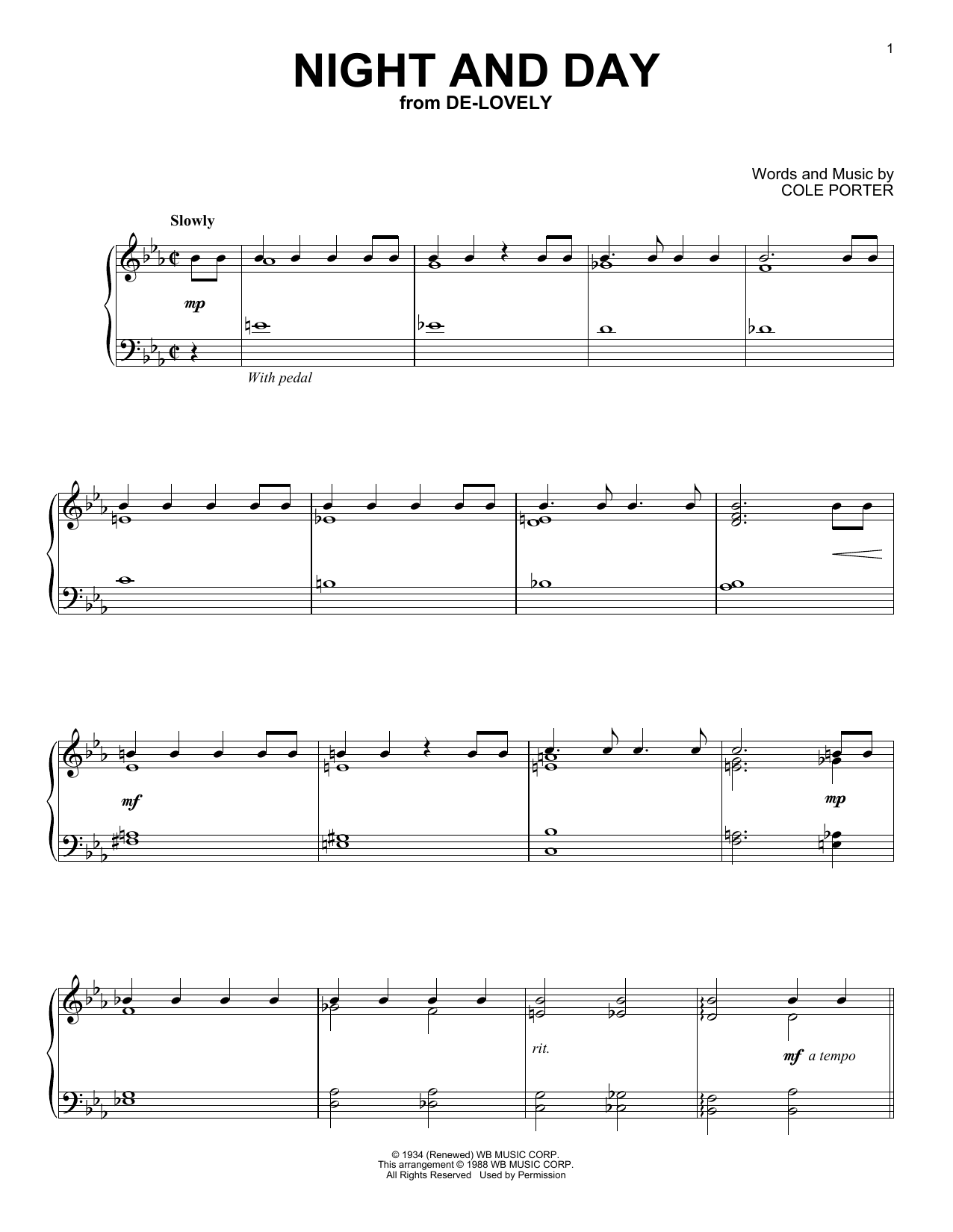 night and day sheet music by cole porter piano 151345. Black Bedroom Furniture Sets. Home Design Ideas
