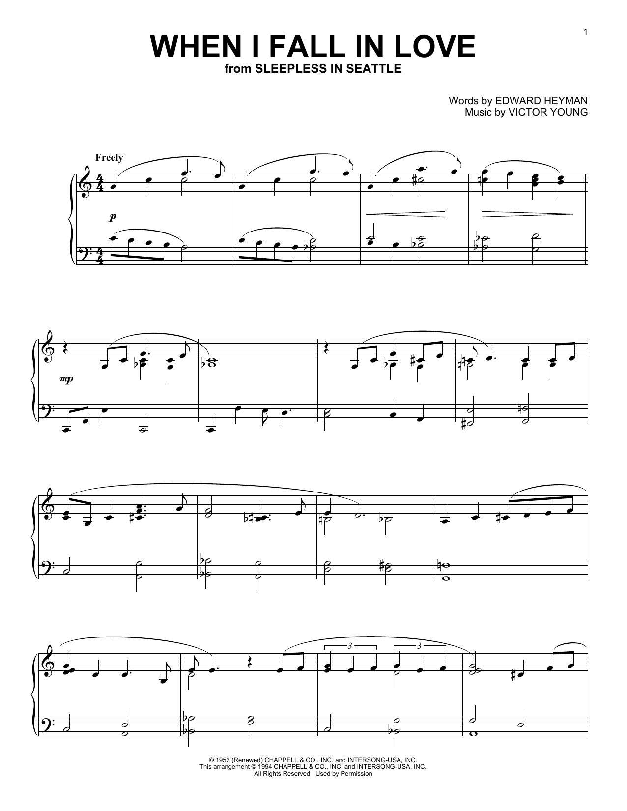 When I Fall In Love Sheet Music