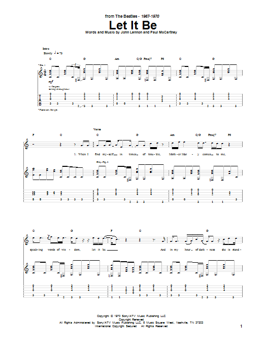 Tablature guitare Let It Be de The Beatles - Tablature Guitare