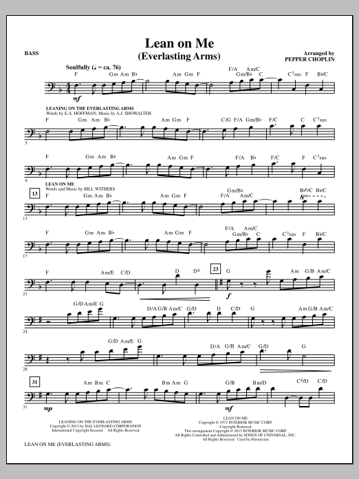 Lean on Me (Everlasting Arms) - Bass Sheet Music