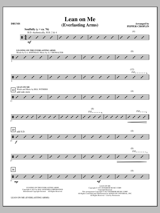 Lean on Me (Everlasting Arms) - Drums Sheet Music