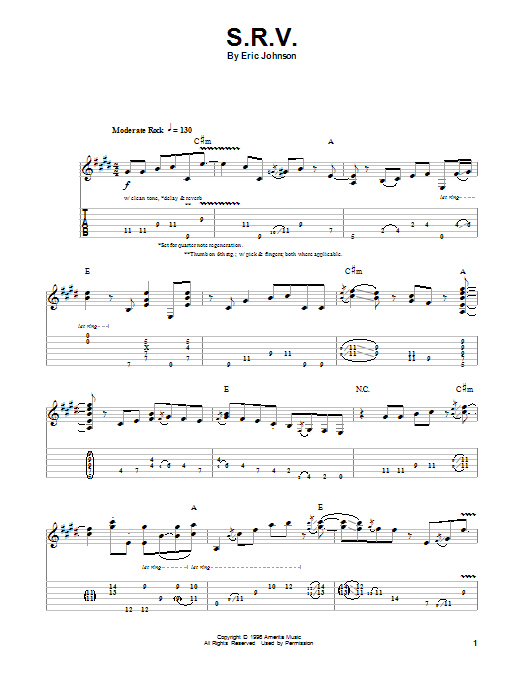Tablature guitare S.R.V. de Eric Johnson - Tablature Guitare