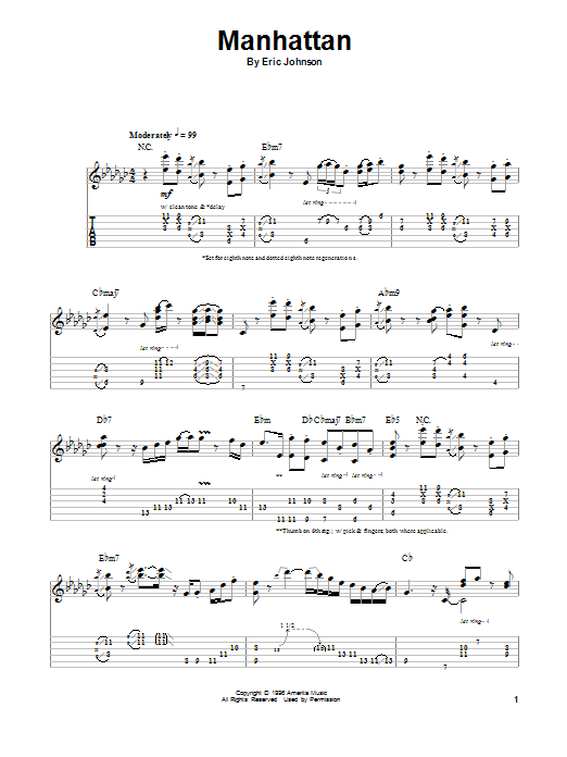 Manhattan (Guitar Tab (Single Guitar))
