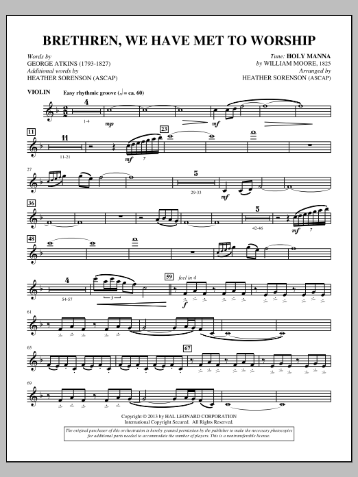 Brethren, We Have Met To Worship - Violin (Choir Instrumental Pak)