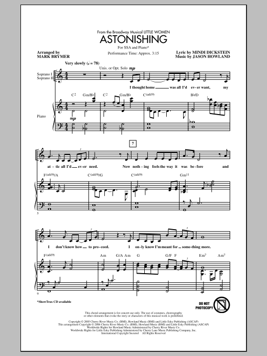 Astonishing Sheet Music