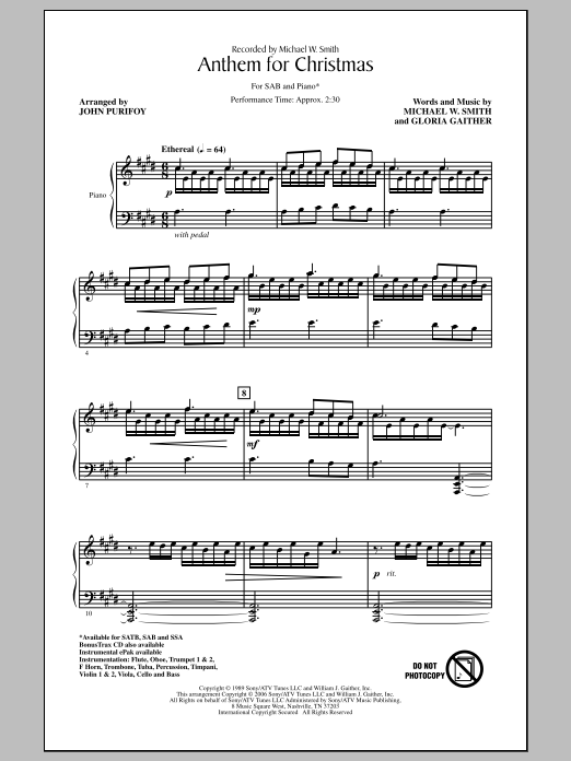 Anthem For Christmas Sheet Music