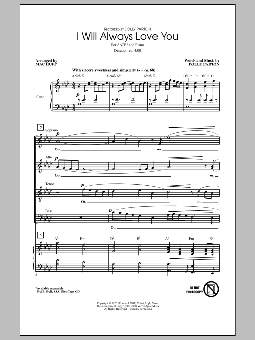I Will Always Love You Sheet Music