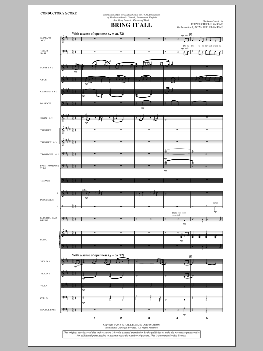 Bring It All (COMPLETE) sheet music for orchestra/band by Pepper Choplin. Score Image Preview.