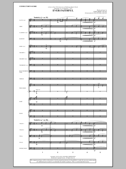 Ever Faithful (COMPLETE) sheet music for orchestra/band by Cindy Berry. Score Image Preview.