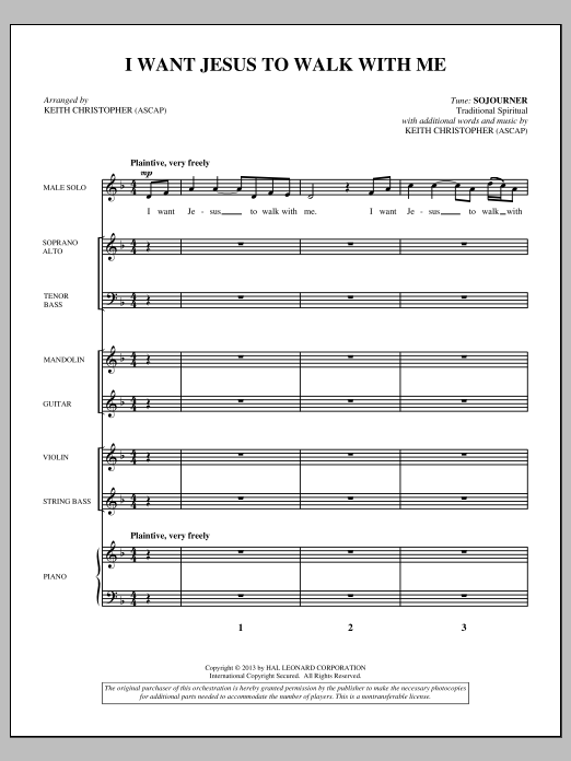 I Want Jesus to Walk with Me (COMPLETE) sheet music for orchestra/band by Keith Christopher and Miscellaneous. Score Image Preview.