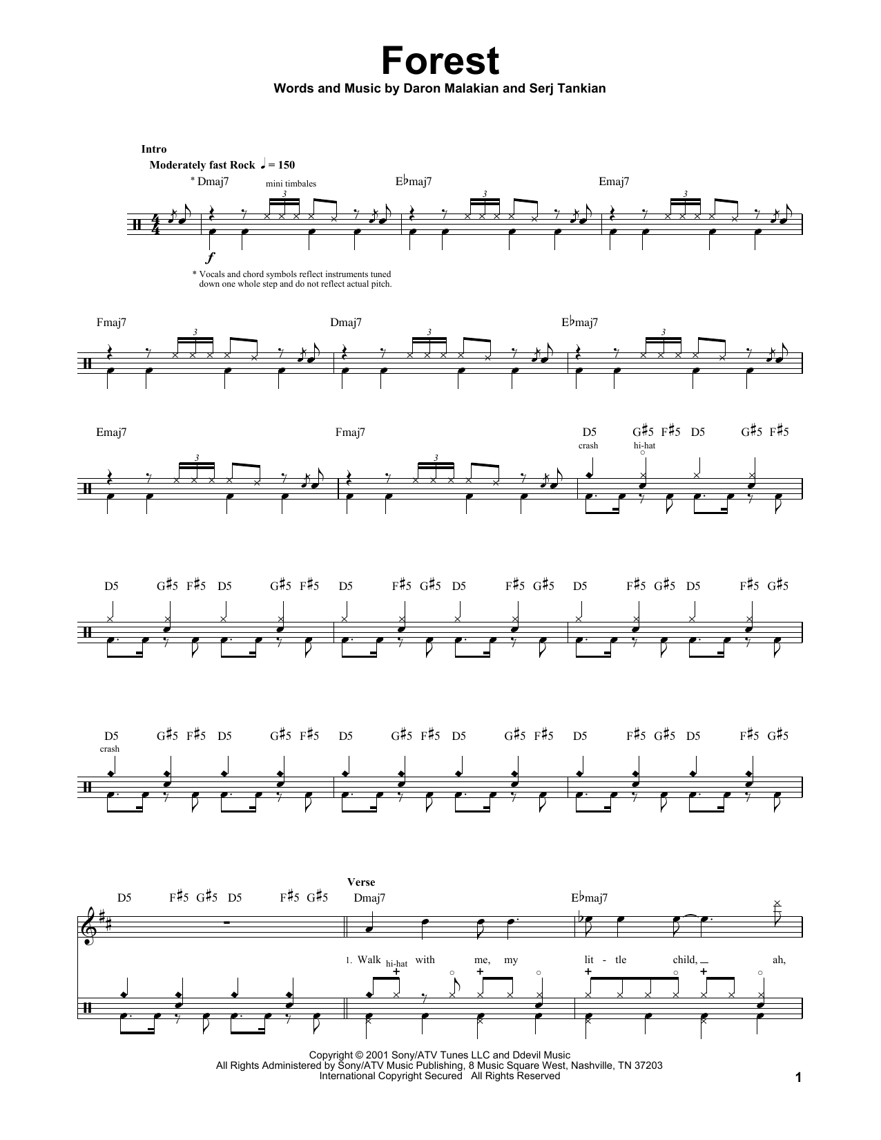 Forest sheet music by system of a down drums transcription 174378 forest sheet music biocorpaavc Gallery