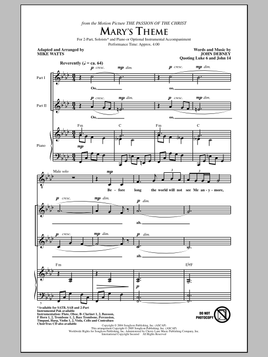 Mary's Theme (arr. Mike Watts) Sheet Music