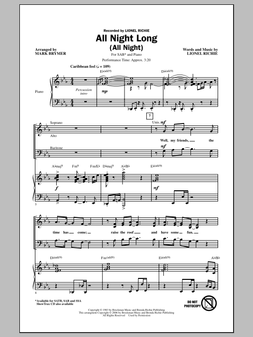 All Night Long (All Night) (arr. Mark Brymer) Sheet Music