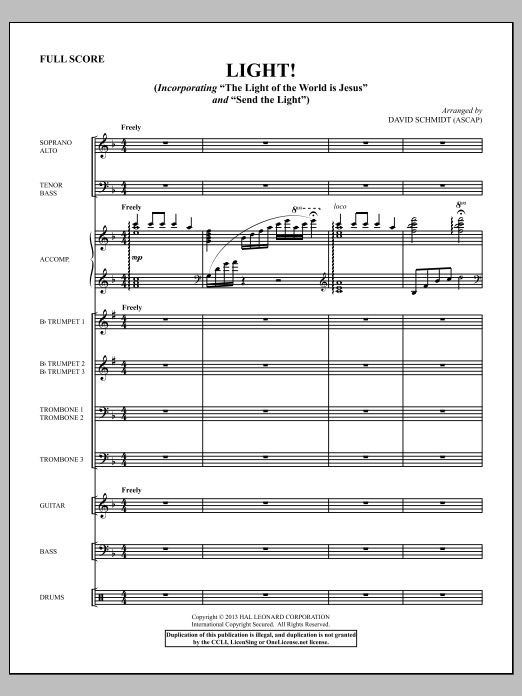 Light! (COMPLETE) sheet music for orchestra/band by David Schmidt. Score Image Preview.