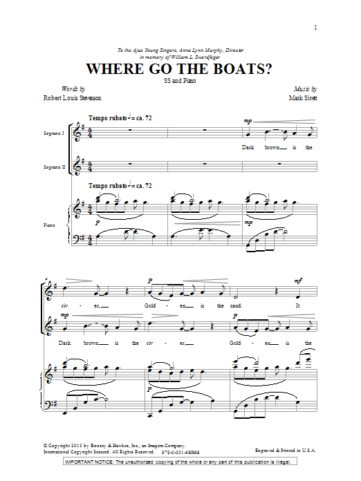 Where Go The Boats Sheet Music