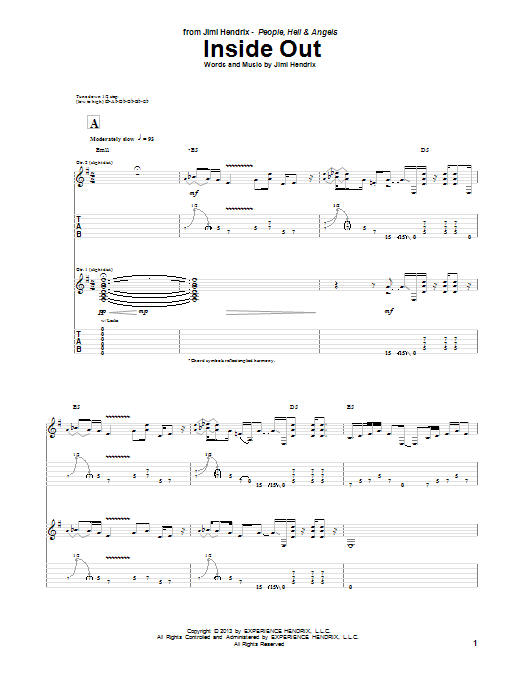 Tablature guitare Inside Out de Jimi Hendrix - Tablature Guitare