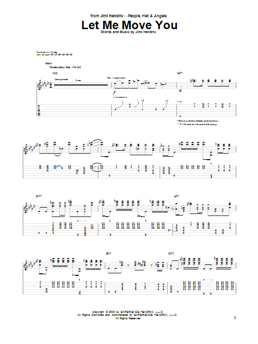 Tablature guitare Let Me Move You de Jimi Hendrix - Tablature Guitare