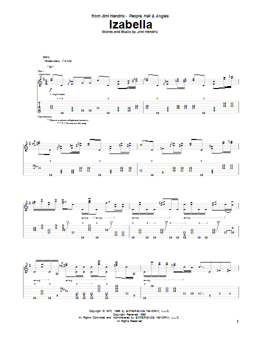 Tablature guitare Izabella de Jimi Hendrix - Tablature Guitare
