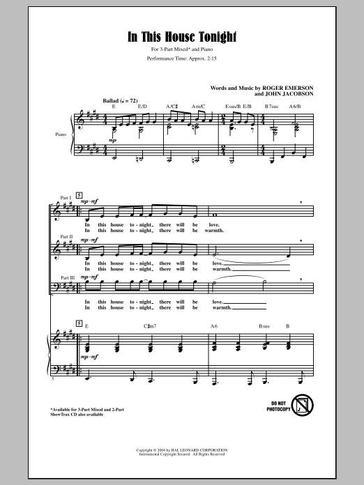 In This House Tonight (arr. Roger Emerson) Sheet Music