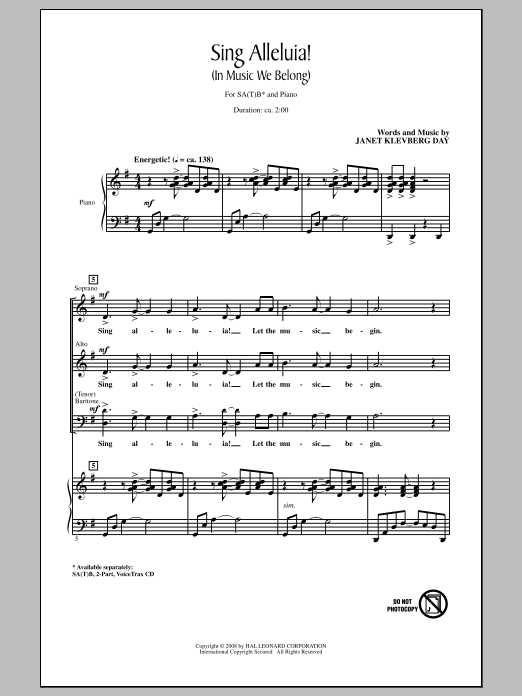 Partition chorale Sing Alleluia! (In Music We Belong) de Janet Klevberg Day - SATB