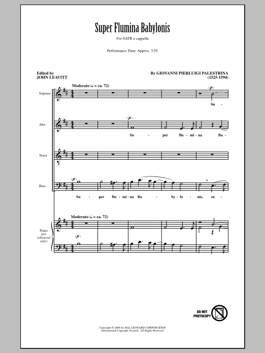 Super Flumina Babylonis (arr. John Leavitt) Sheet Music