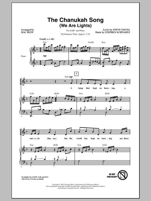 The Chanukah Song (We Are Lights) Sheet Music