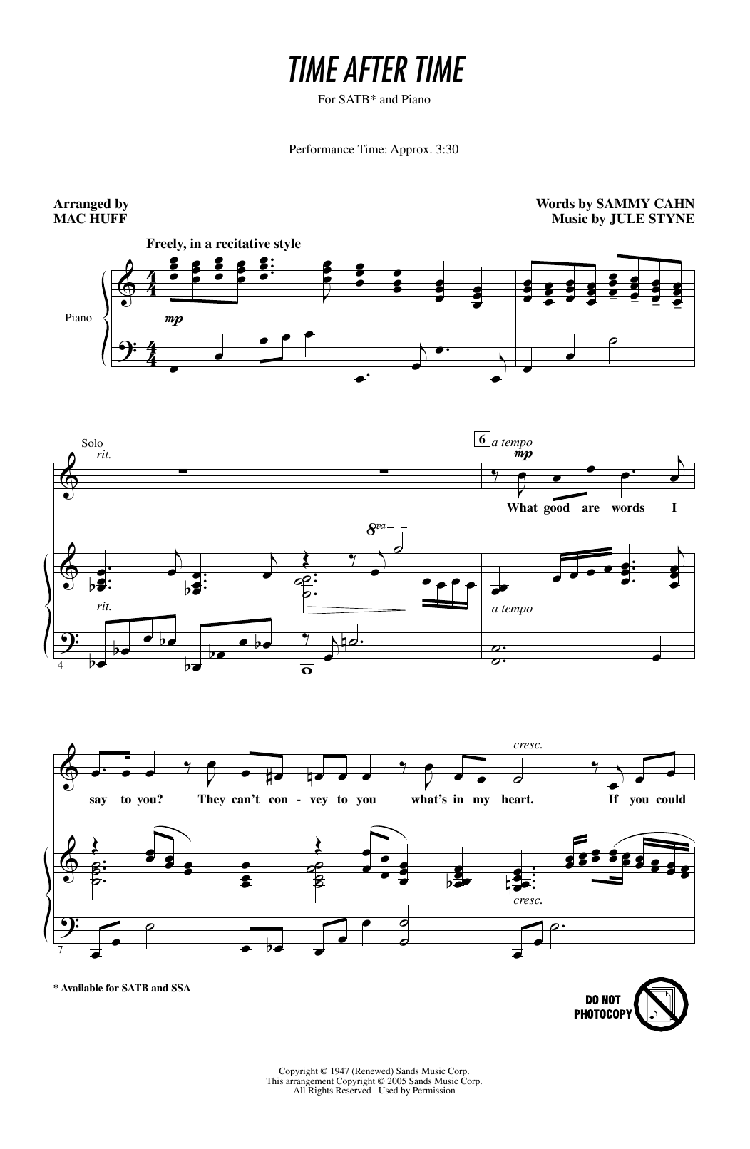 Time After Time (arr. Mac Huff) Sheet Music