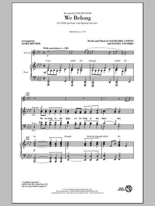 Partition chorale We Belong de Pat Benatar - SATB