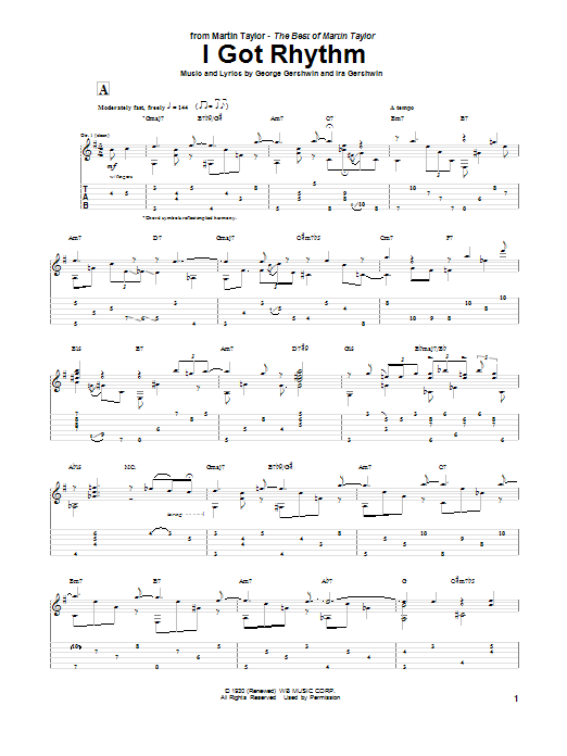 Tablature guitare I Got Rhythm de Martin Taylor - Tablature Guitare