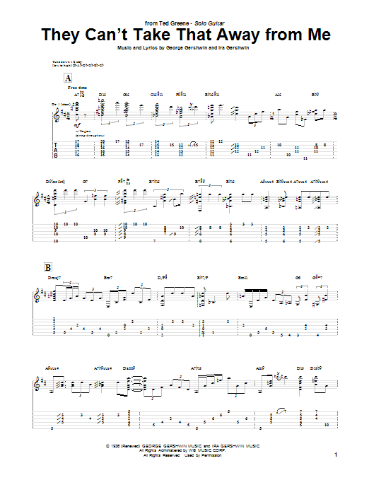 Tablature guitare They Can't Take That Away From Me de Ted Greene - Tablature Guitare