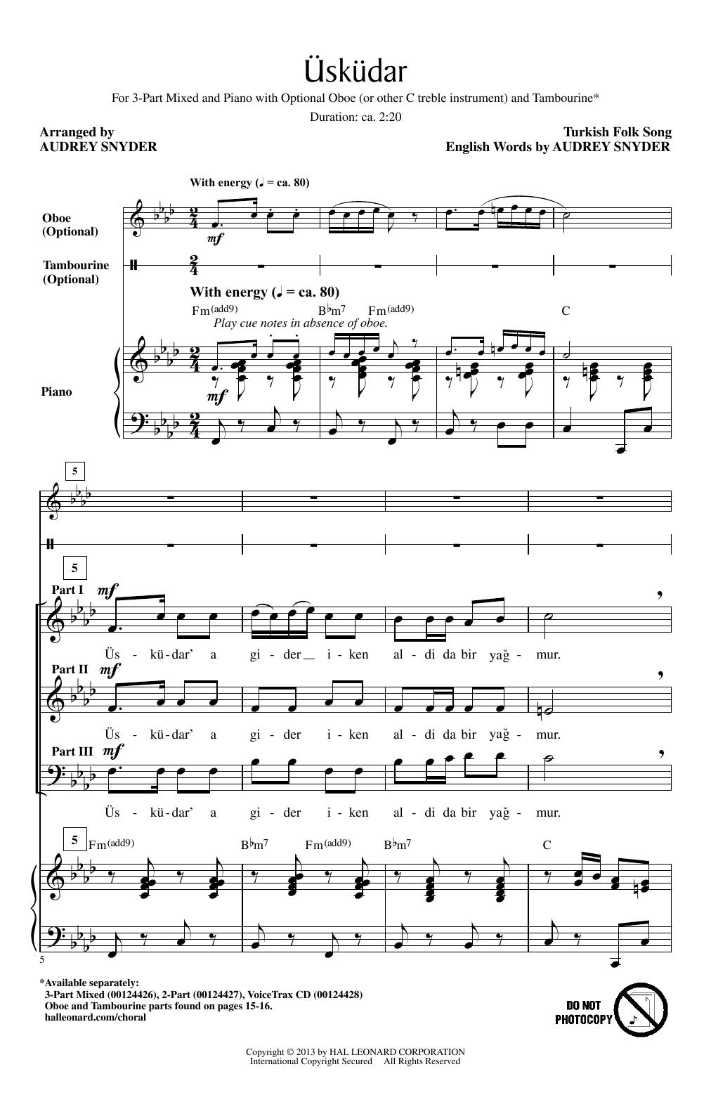 Uskudar (arr. Audrey Snyder) Sheet Music