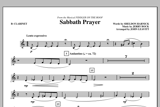 Sabbath Prayer - Clarinet (Choir Instrumental Pak)