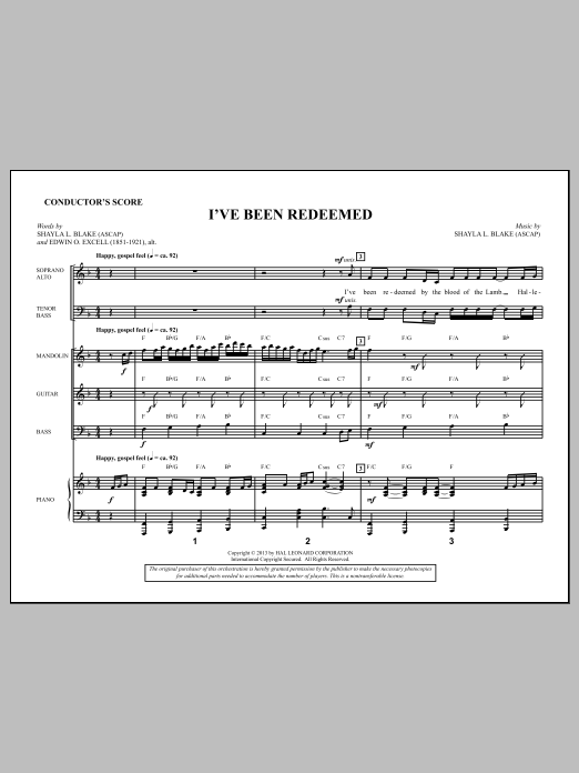 I've Been Redeemed (COMPLETE) sheet music for orchestra/band by Shayla Blake. Score Image Preview.