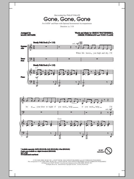 Gone, Gone, Gone (arr. Mark Brymer) Sheet Music