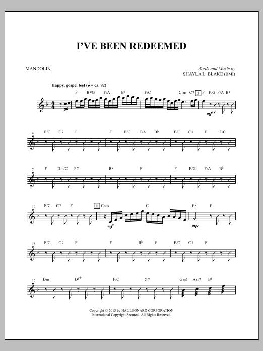 I've Been Redeemed - Mandolin/Acoustic Guitar Sheet Music