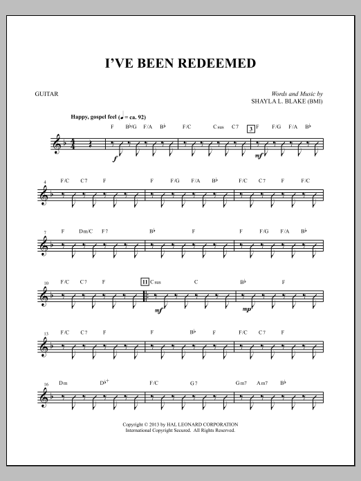 I've Been Redeemed - Acoustic Guitar Sheet Music