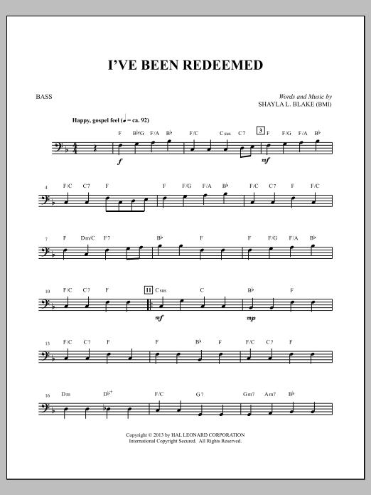 I've Been Redeemed - String Bass Sheet Music