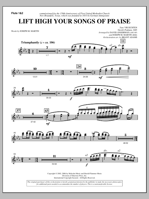 Lift High Your Songs Of Praise (from Footprints In The Sand) - Flute 1 & 2 Sheet Music